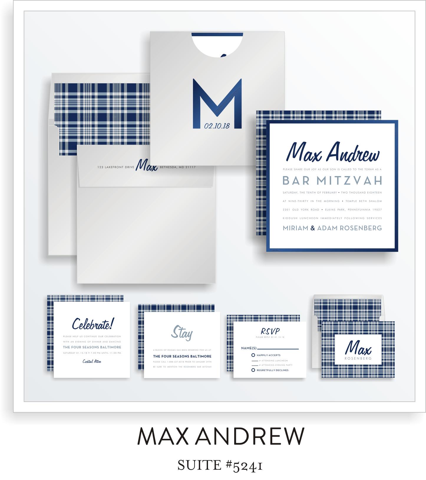 Copy of Copy of Bar Mitzvah Invitation Suite 5241 - Max Andrew