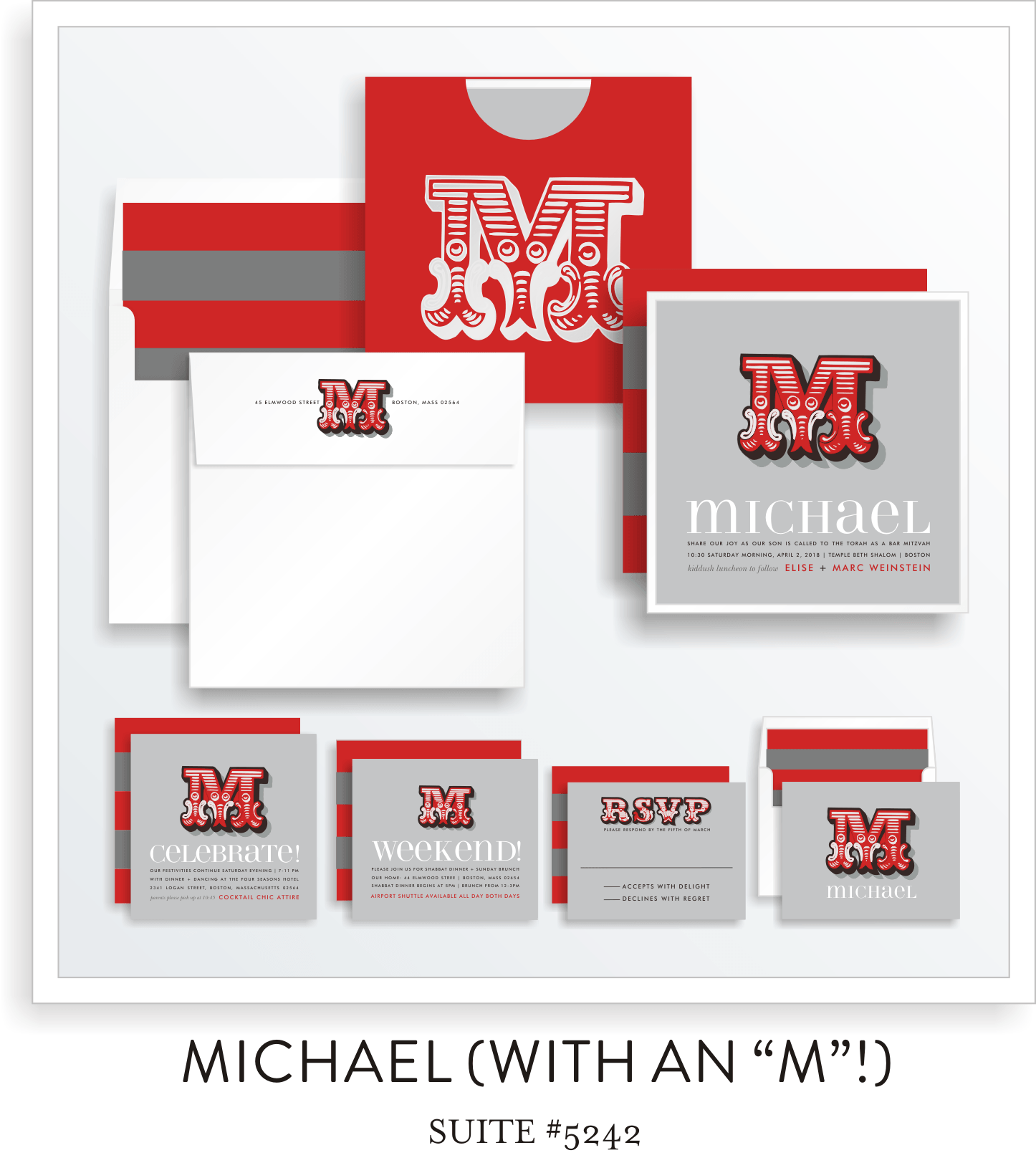 "Copy of Copy of Bar Mitzvah Invitation Suite 5242 - Michael with an ""M"""