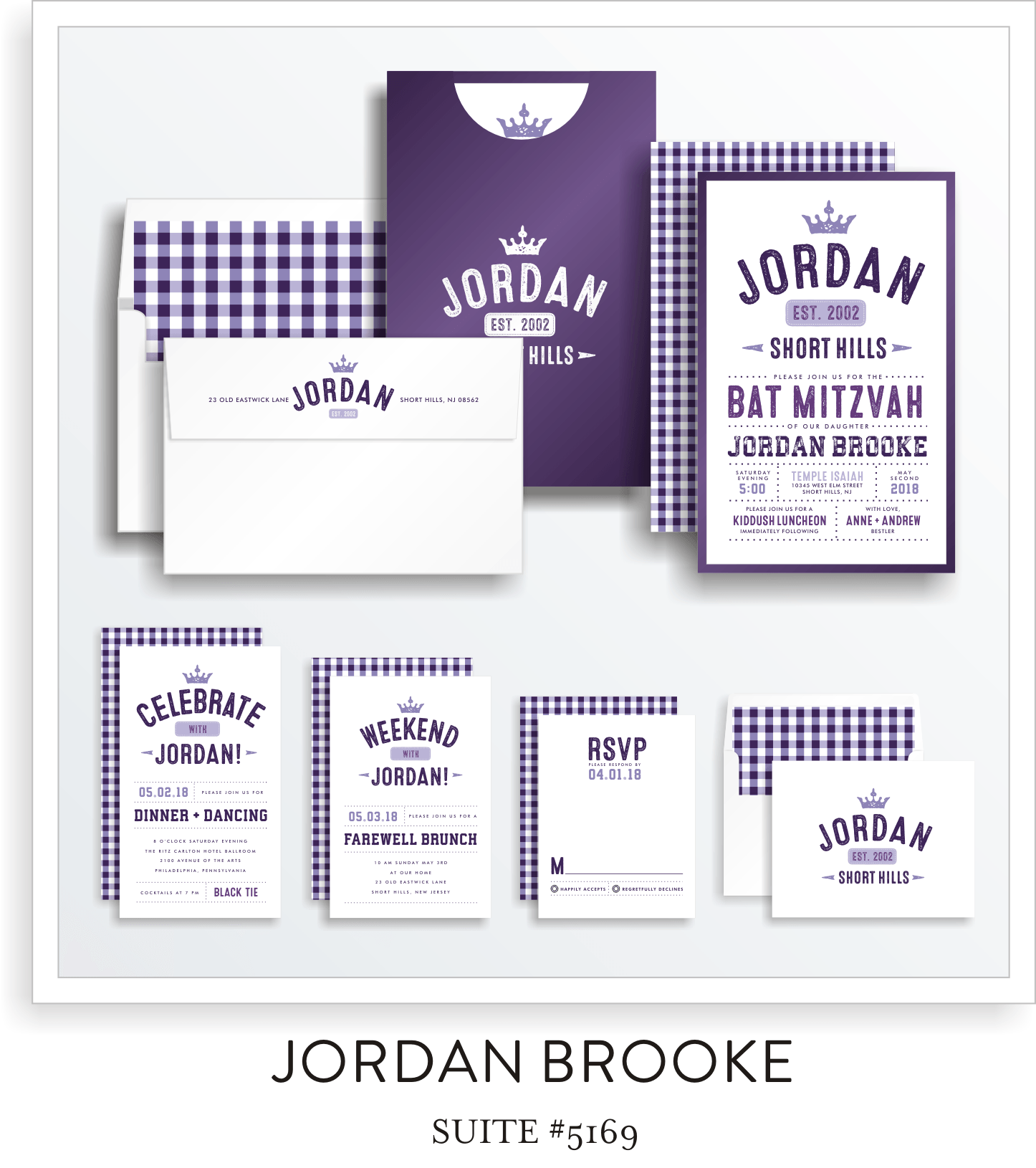 Bat Mitzvah Invitation Suite 5169 - Jordan Brooke