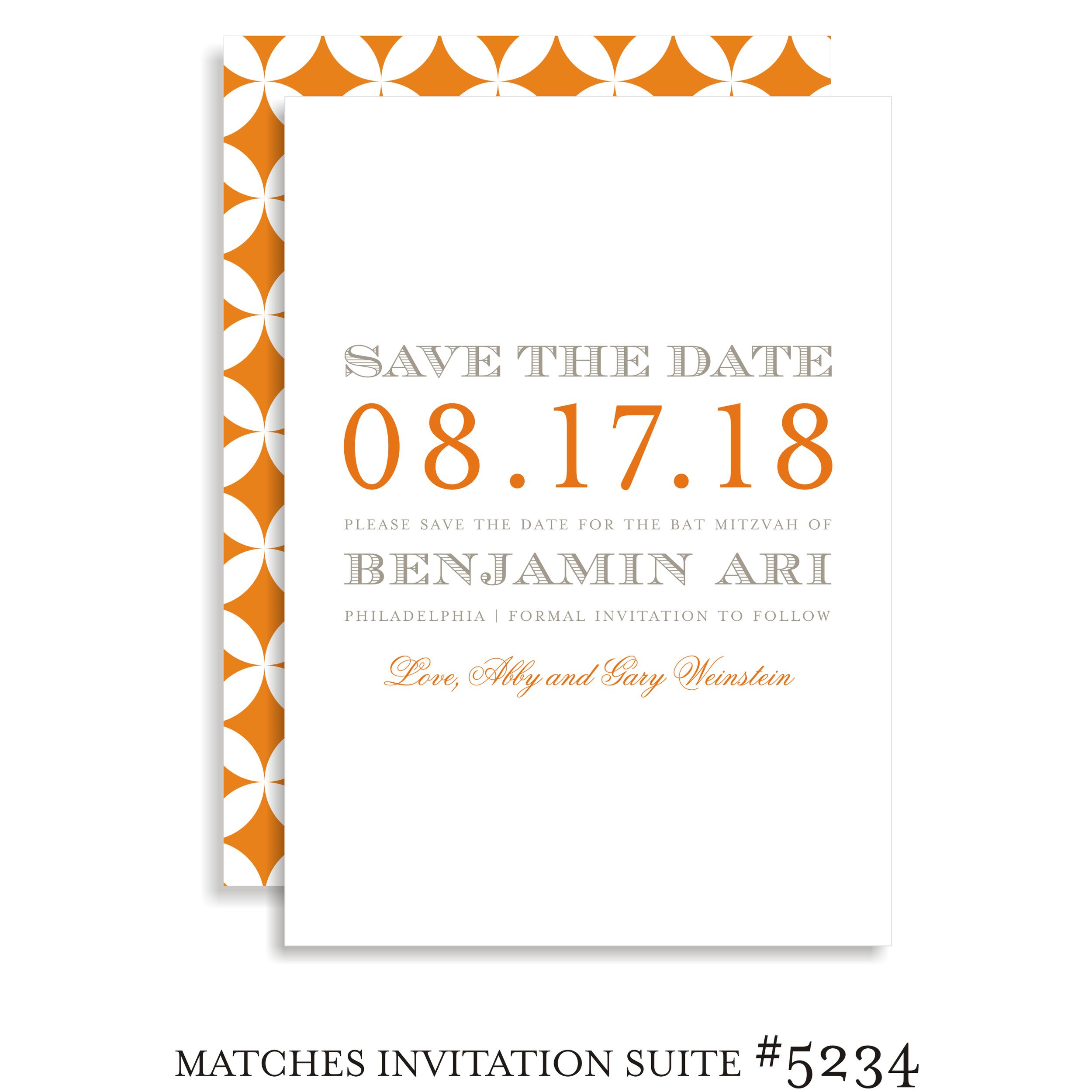Save the Date Bar Mitzvah Suite 5234 - Benjamin Ari