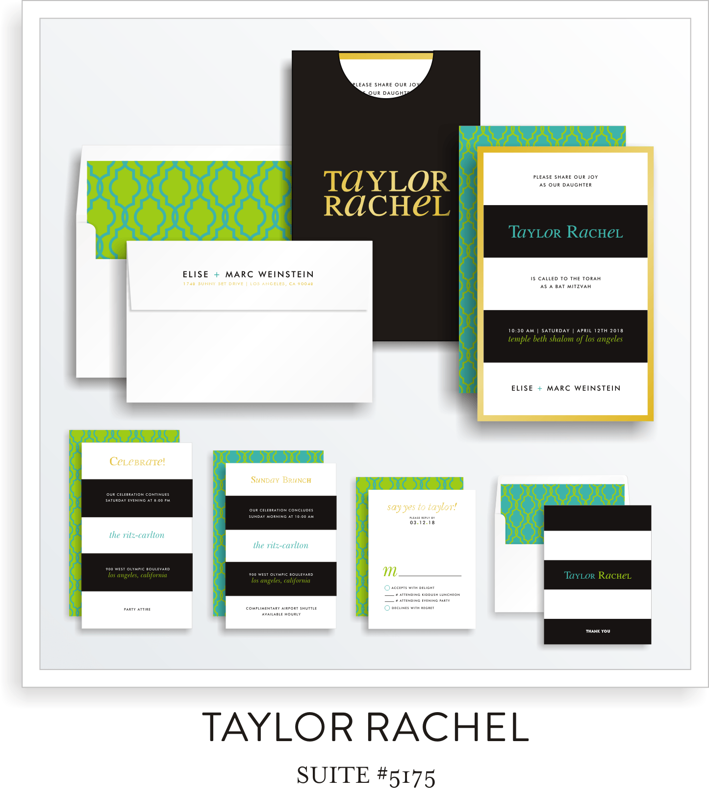 Bat Mitzvah Invitation Suite 5175 - Taylor Rachel