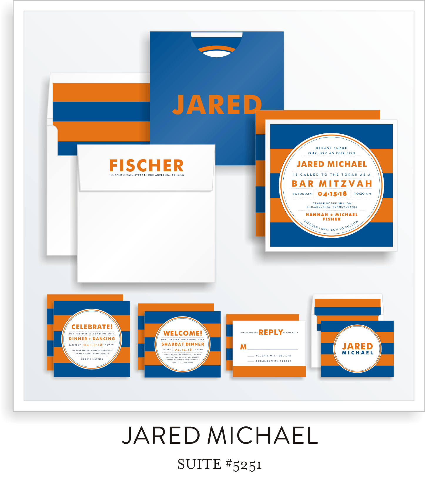 Copy of Copy of Bar Mitzvah Invitation Suite 5251 - Jared Michael