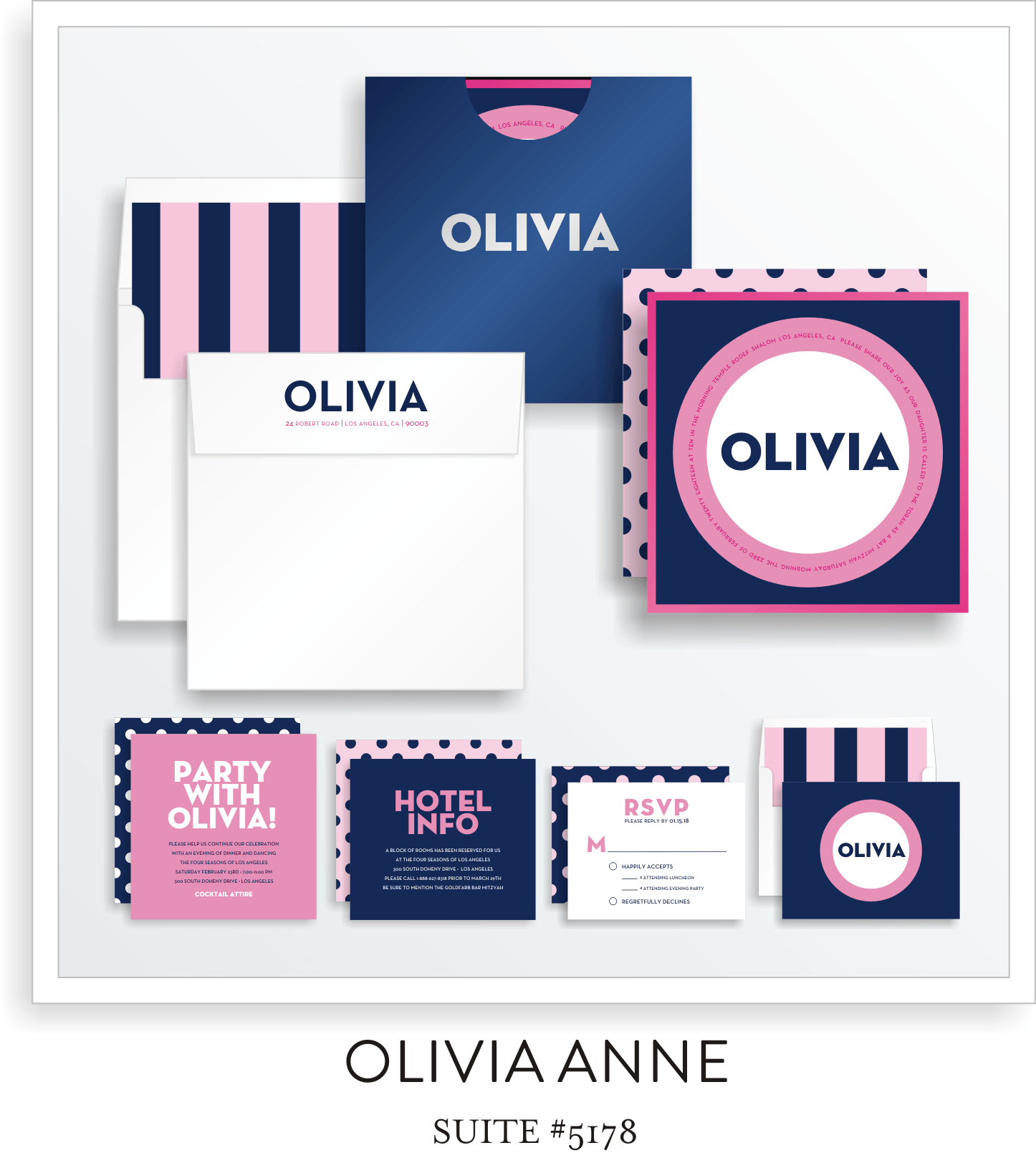 Copy of Bat Mitzvah Invitation Suite 5178 - Olivia Anne