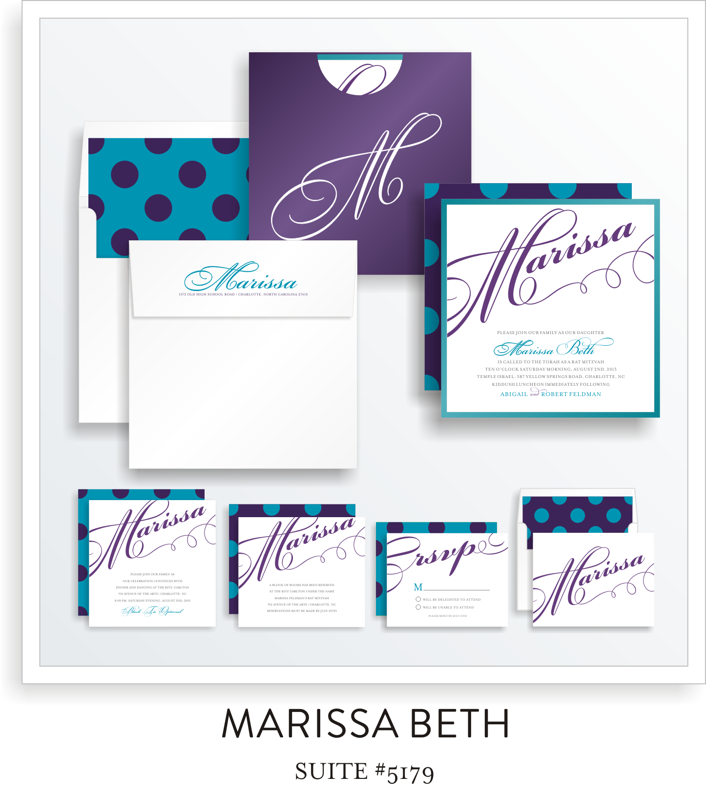 Copy of Bat Mitzvah Invitation Suite 5179 - Marissa Beth