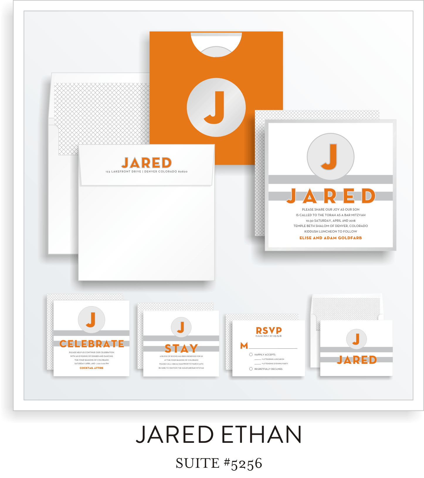 Copy of Bar Mitzvah Invitation Suite 5256 - Jared Ethan