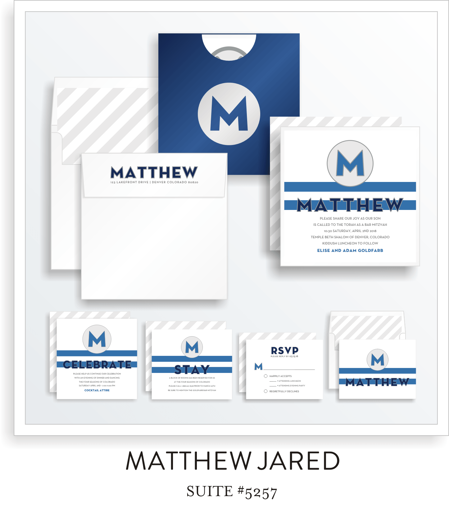 Copy of Bar Mitzvah Invitation Suite 5257 - Matthew Jared