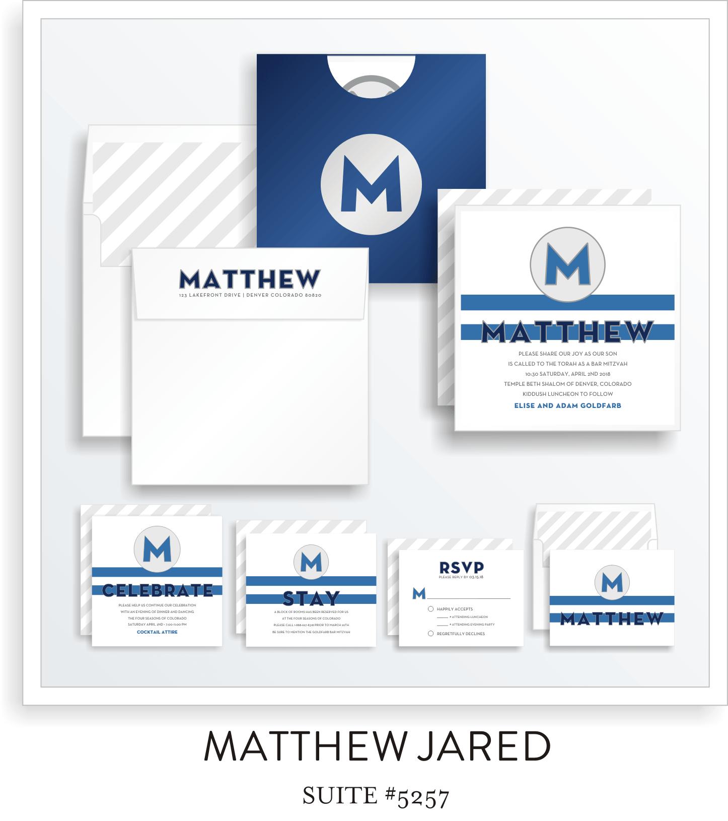 Copy of Copy of Bar Mitzvah Invitation Suite 5257 - Matthew Jared