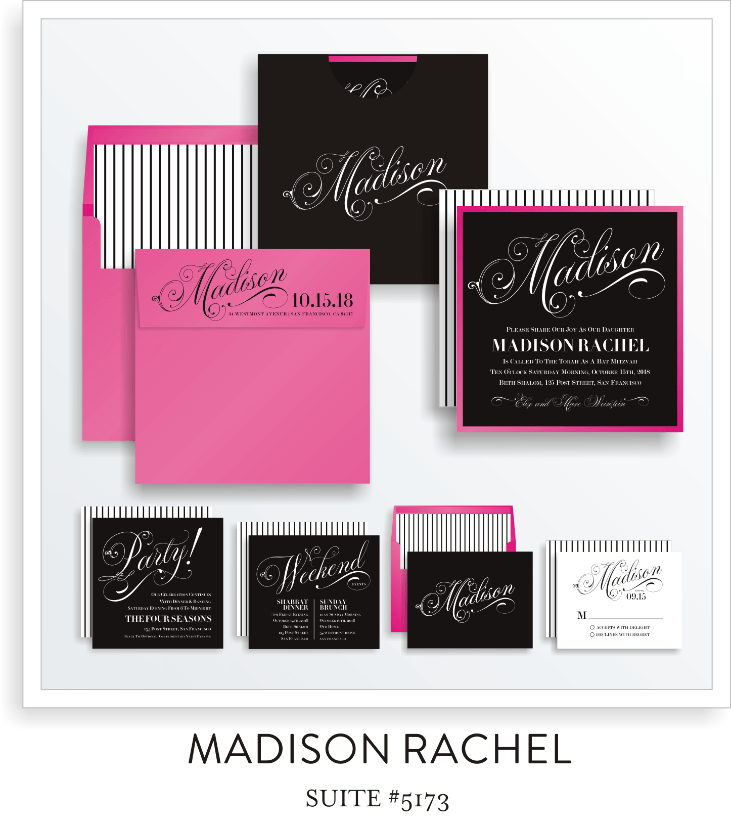 Copy of Bat Mitzvah Invitation Suite 5173 - Madison Rachel