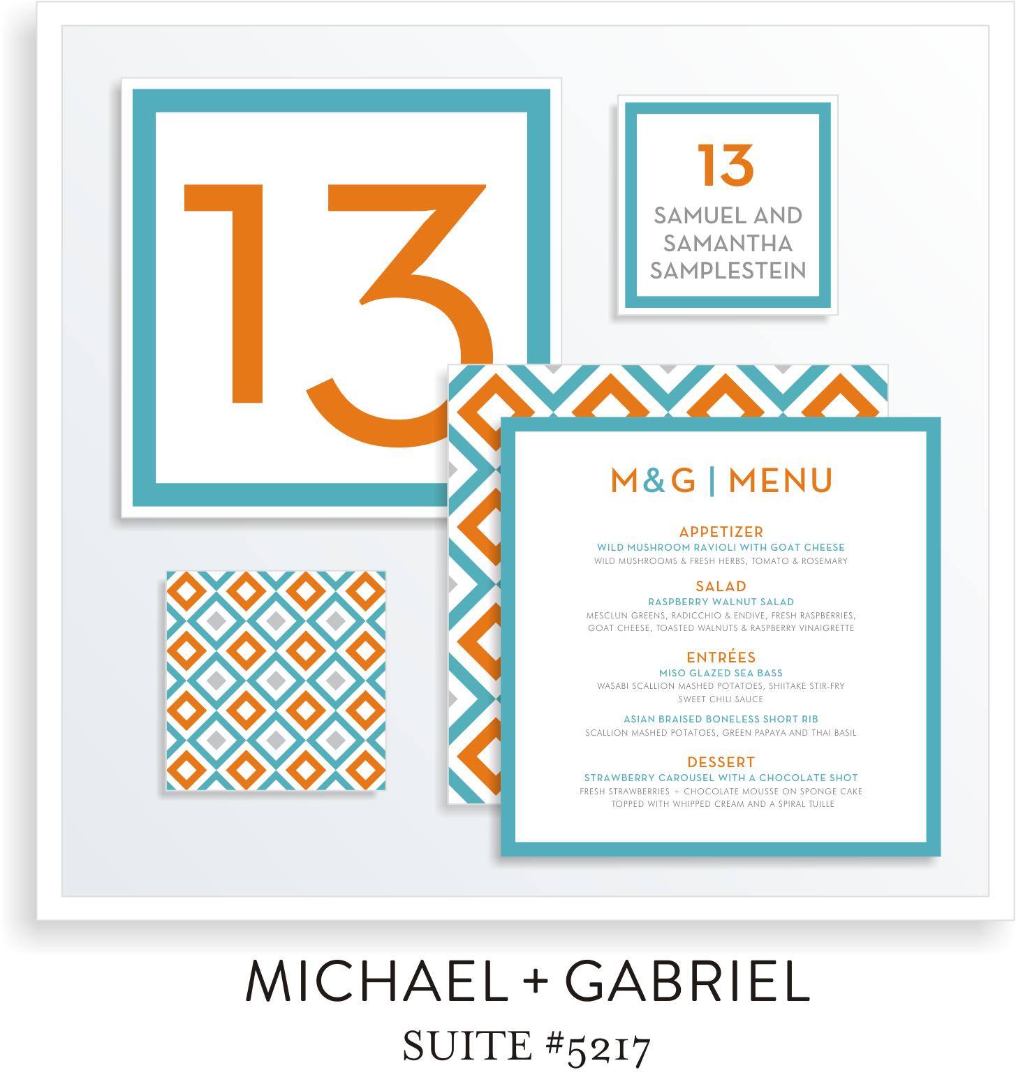 Bar Mitzvah Table Top Decor 5217 - Michael & Gabriel