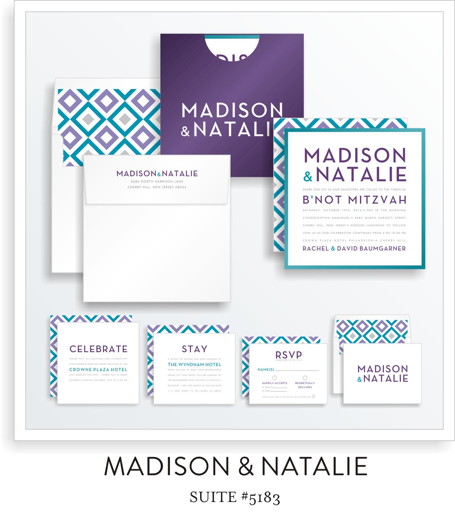 B'not Mitzvah Invitation Suite 5183 - Madison & Natalie
