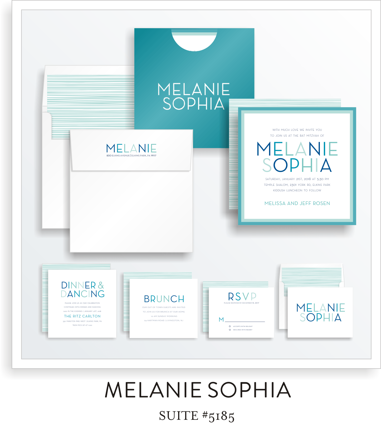 Bat Mitzvah Invitation Suite 5185 - Melanie Sophia