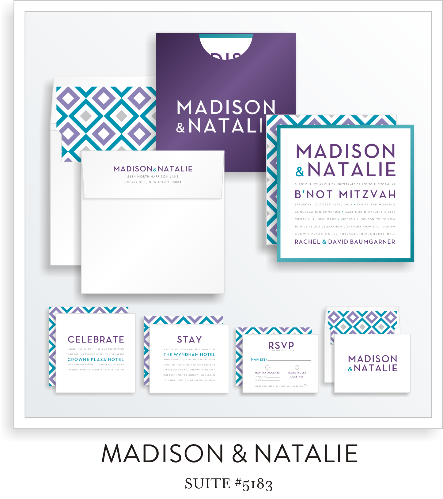 Copy of B'not Mitzvah Invitation Suite 5183 - Madison & Natalie