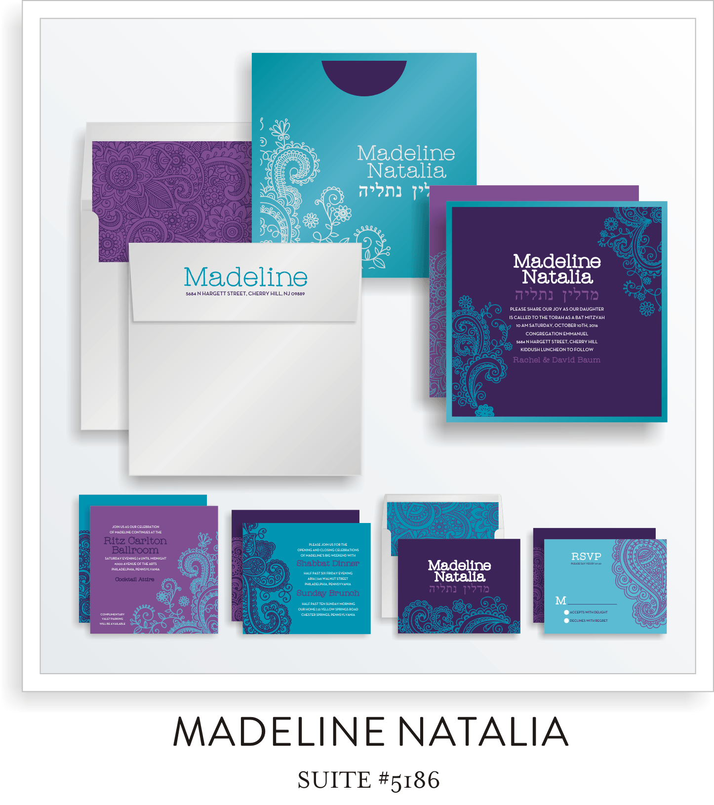 Madeline Natalia Lily Isabelle Bat Mitzvah Invitation