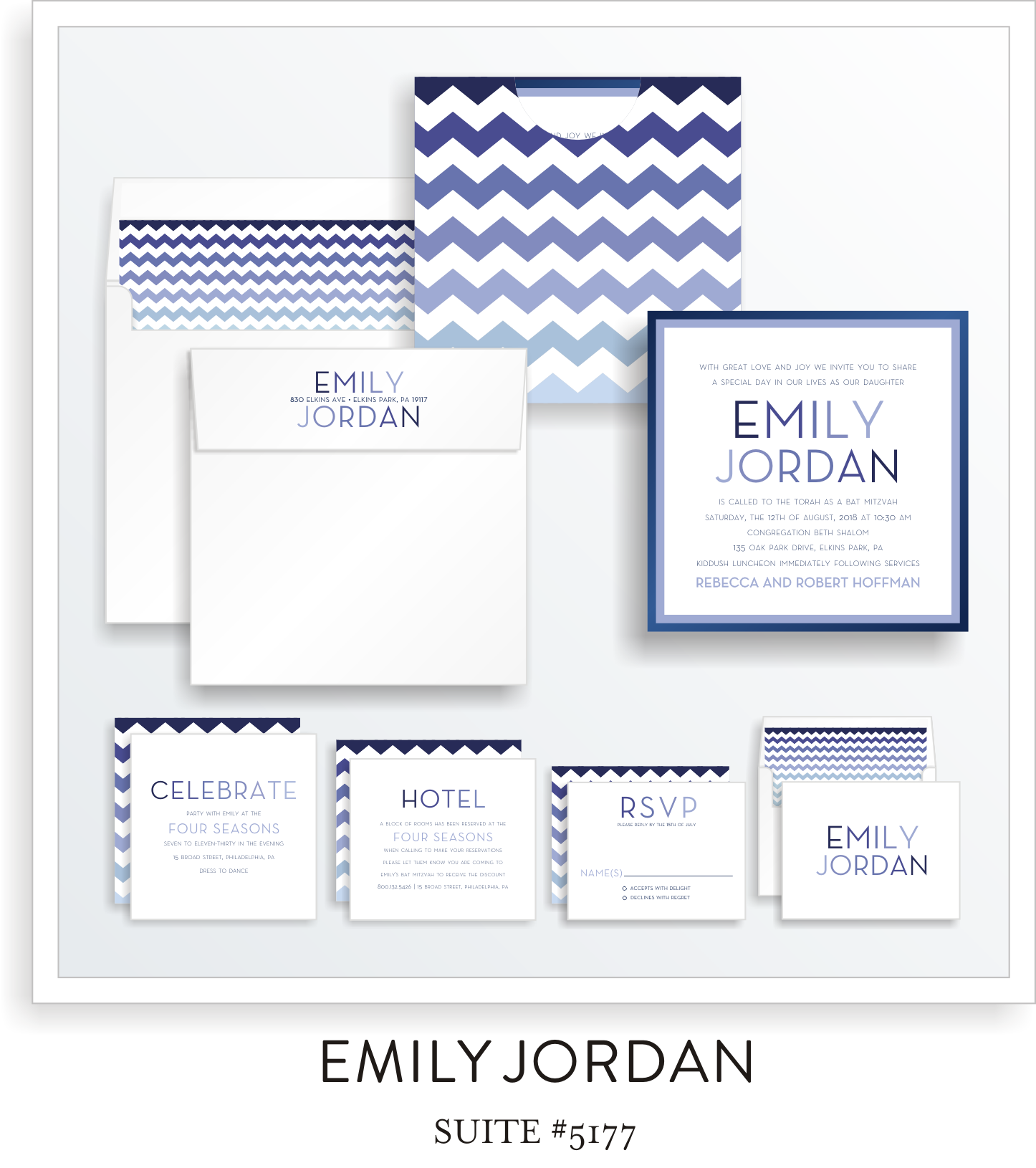 Bat Mitzvah Invitation Suite 5177 - Emily Jordan