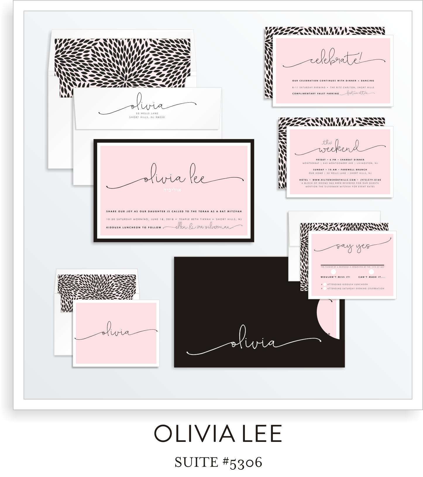 Bat Mitzvah Invitation Suite 5306 - Olivia Lee