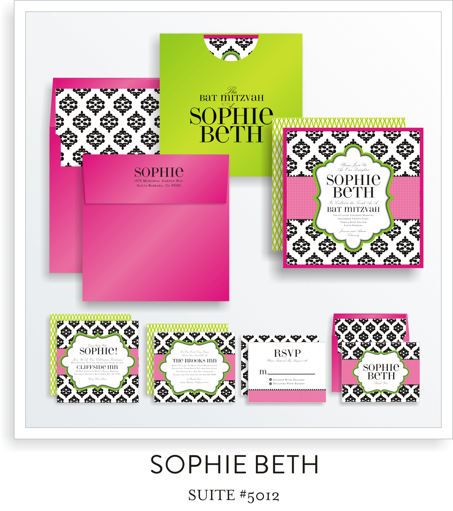 Bat Mitzvah Invitation Suite 5012 - Sophie Beth