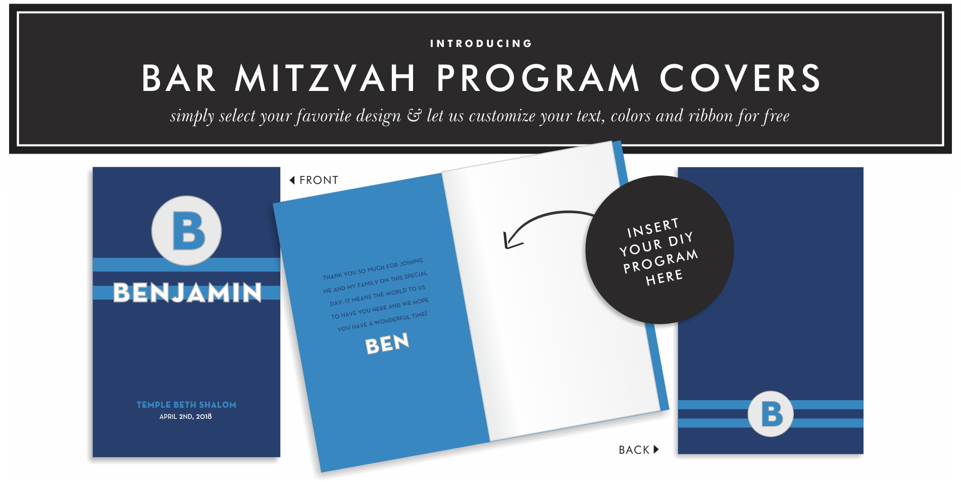 Bat Mitzvah invitations custom made and perfectly coordinated in your choice of papers and colors to match your style. Choose one of our unique Bat Mitzvah invitation themes to get started!
