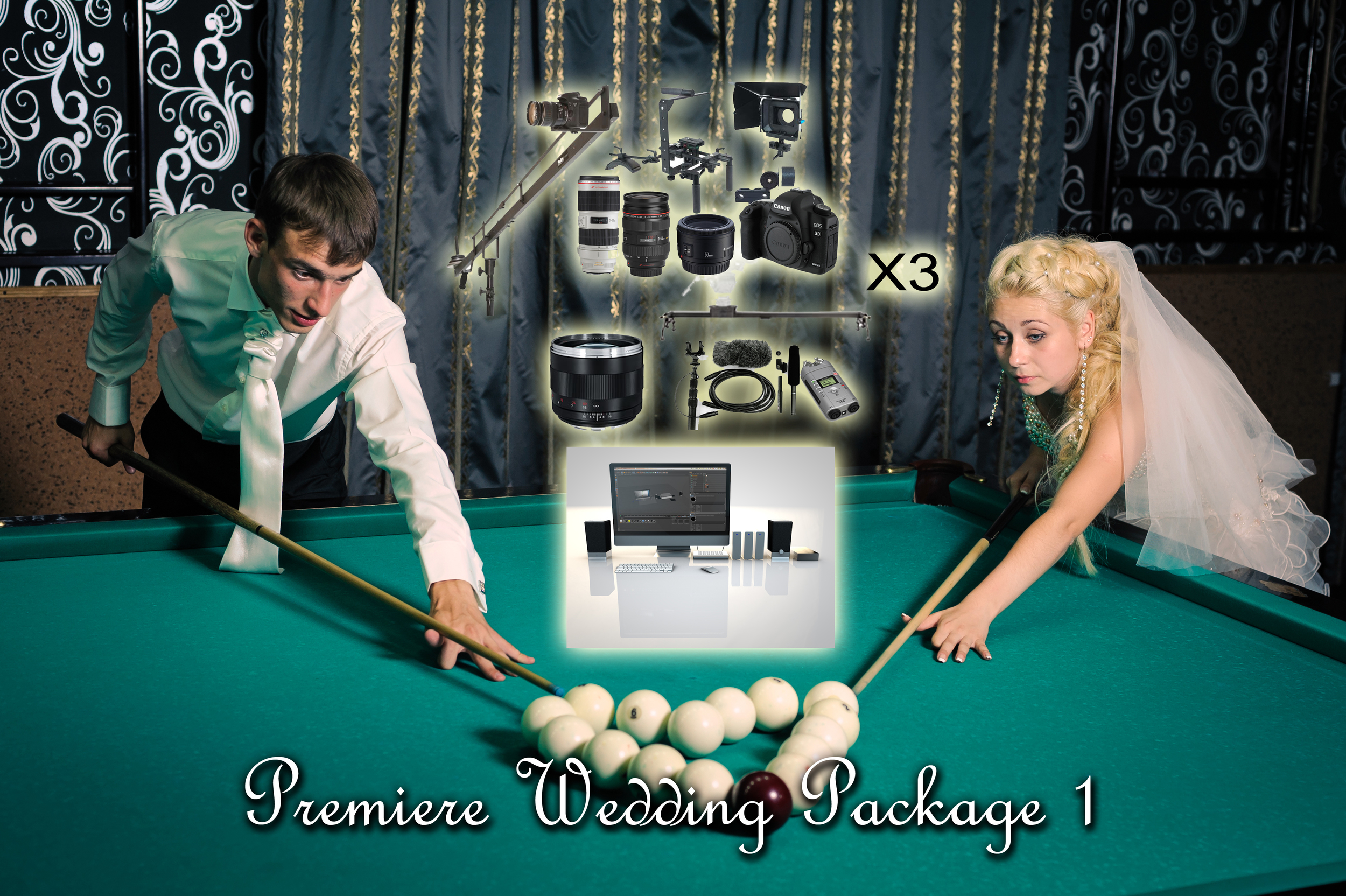 PREMIERE WEDING PACK 1         Basic Package  (With free Canon 60D Camera)    Audio Package and Operator      Assistant:  Zeiss Lens Package    Crane and Slider:    Added Lighting: FREE!     Hard Drive   Misc;    Editing   Price: $8740.00    Discount Price: $7,760.00!    Savings: $980.00!