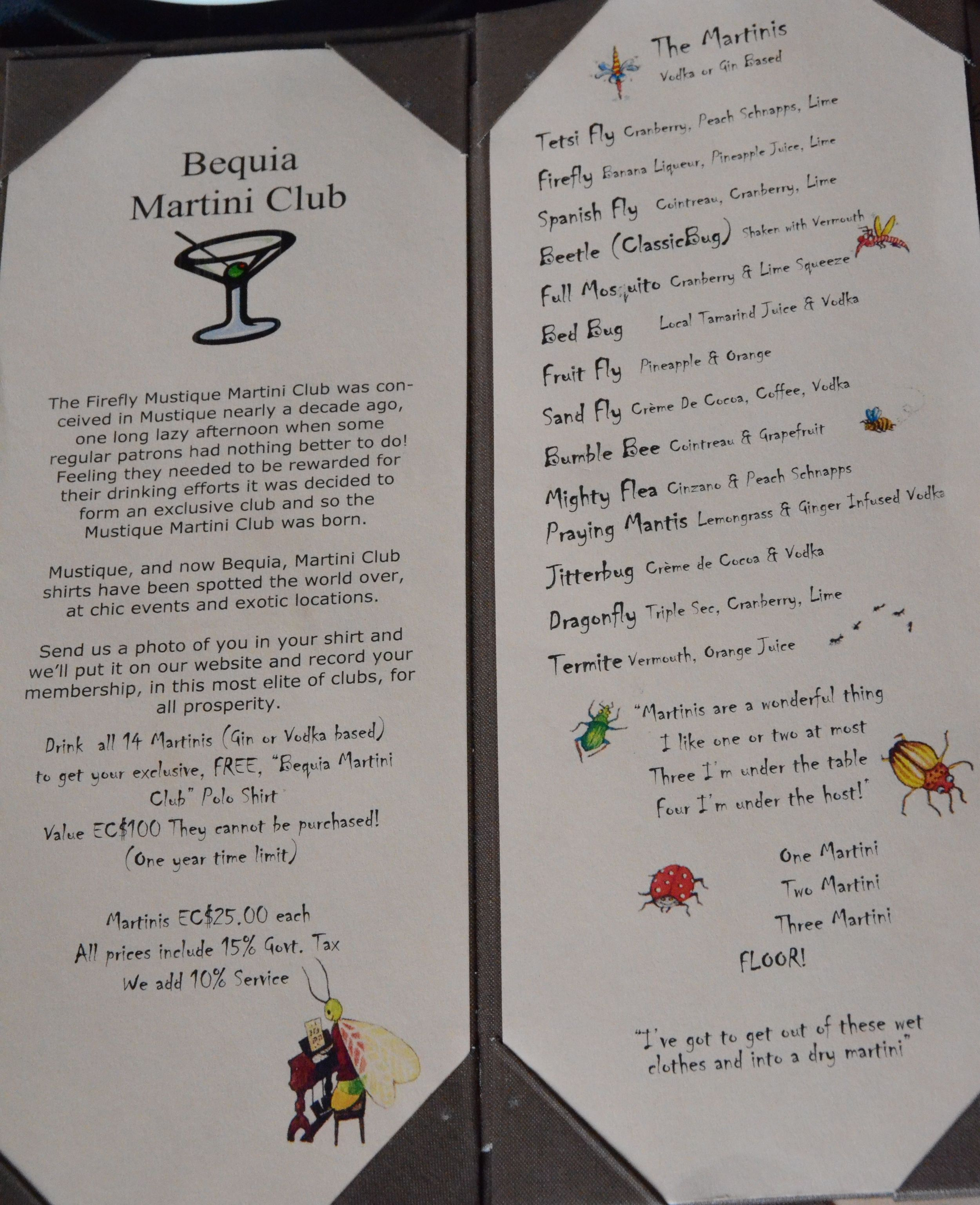 Firefly Martini Menu & Club Info