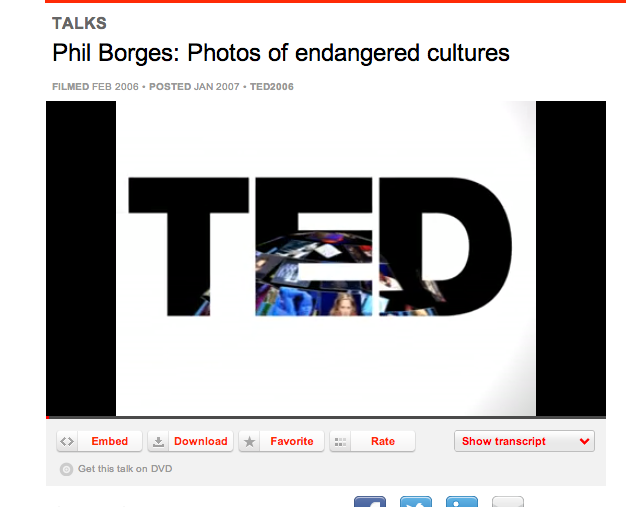 Click the image to watch a great TED talk on this subject. Phil Borges is a photographer that does very similar work to Nelson but takes a very different approach. What do you think? (or use this link: http://www.ted.com/talks/phil_borges_on_endangered_cultures.html  )