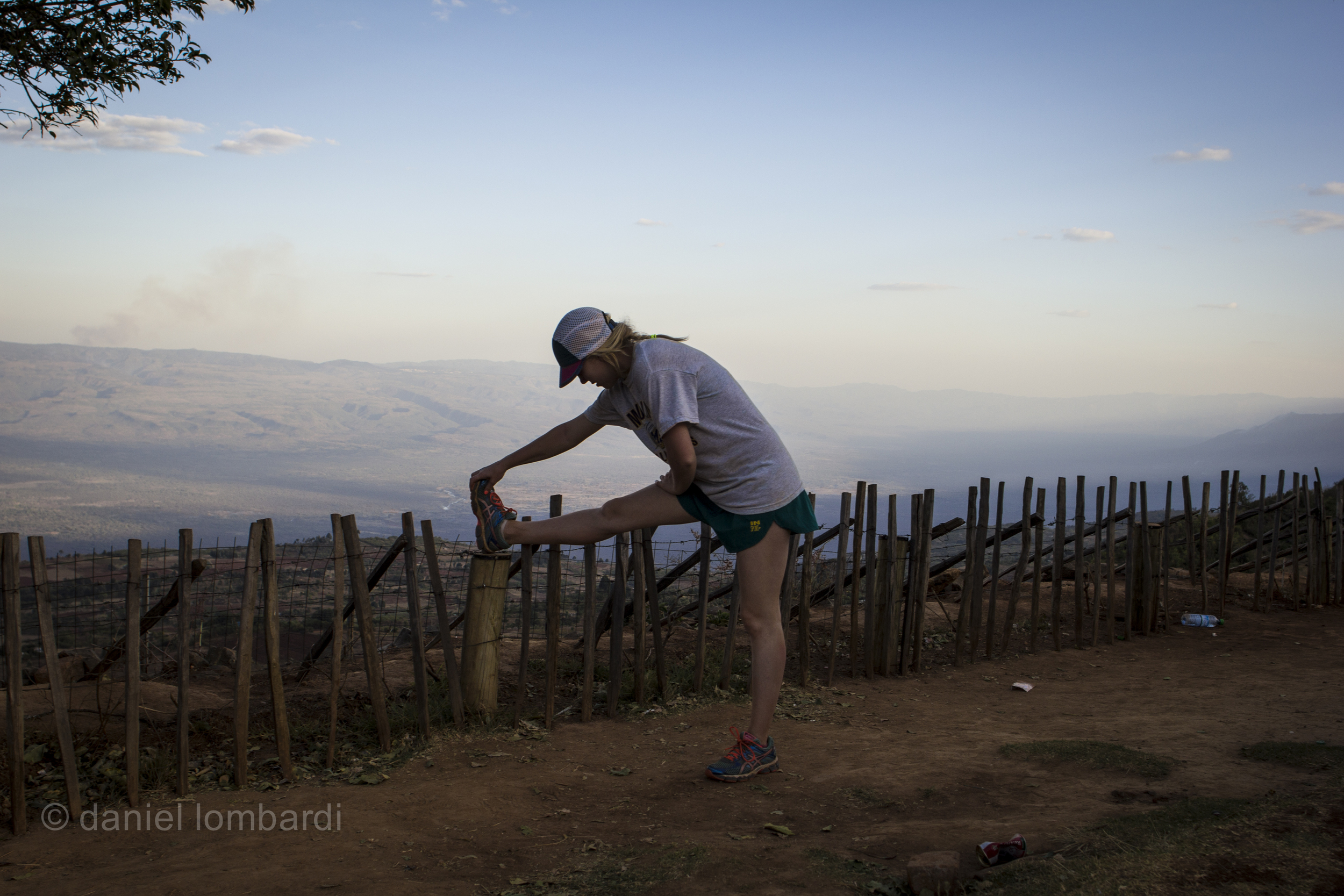 In Iten, Kenya stretching at the edge of town can feel like stretching on the edge of the world. There are some real cool runs around the valley edge with amazing views if you're willing to explore a little bit. This image was taken just a short jog away from the Jambo hotel.