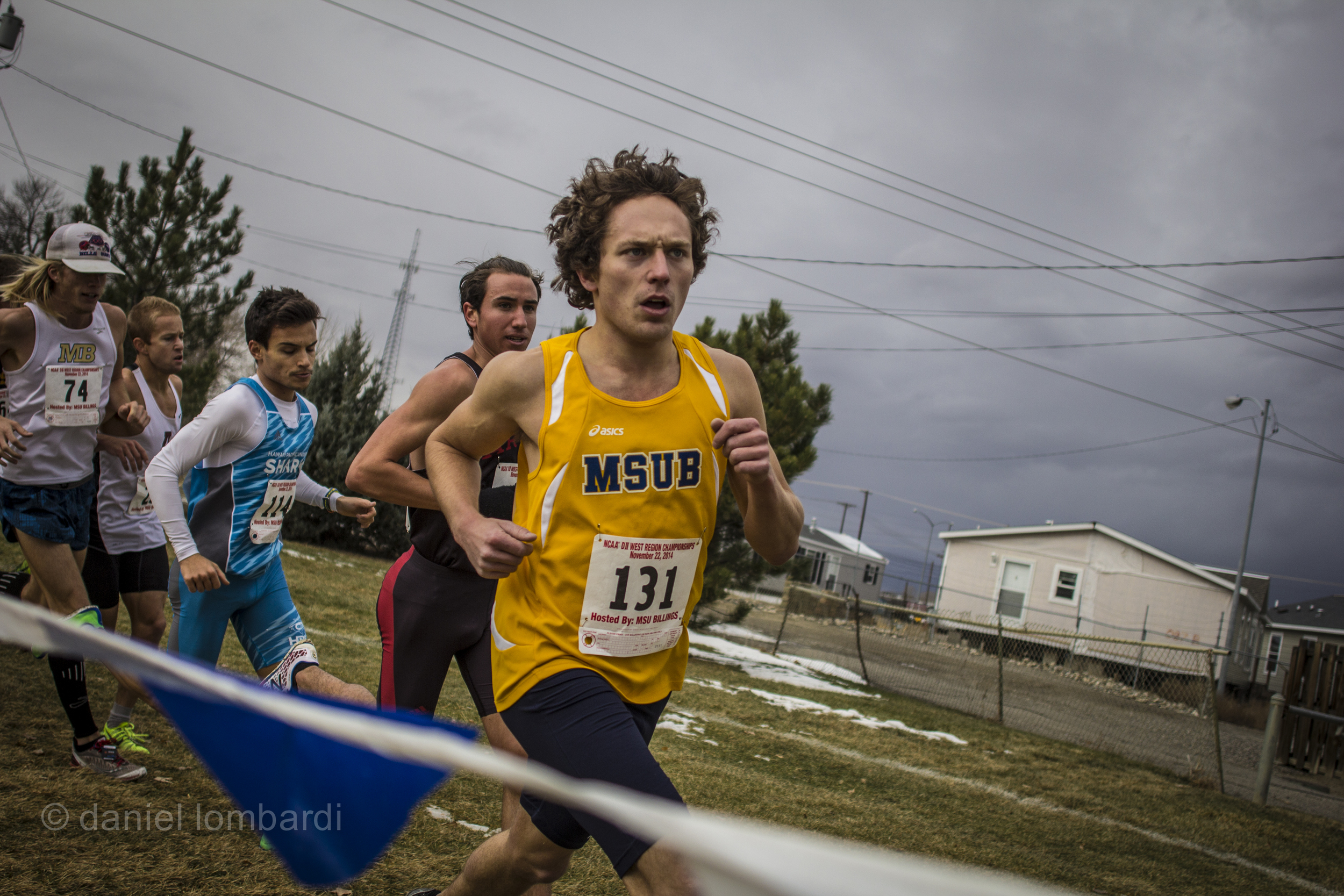 Josh Panasuk  rounding a corner during the first NCAA regional meet ever hosted by MSU Billings.