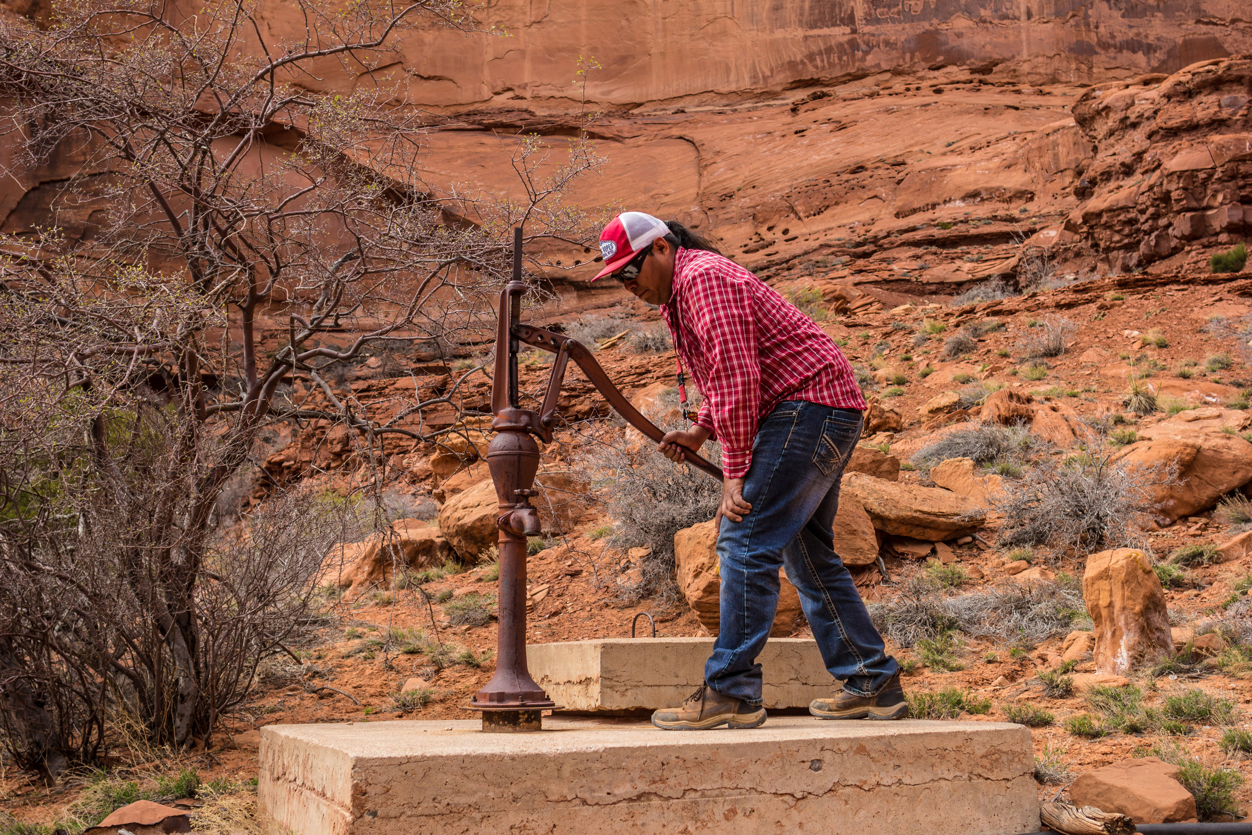 A broken down well in Monument Valley harkens back to different times. Will Yazzie says the wells are now contaminated from uranium mining.
