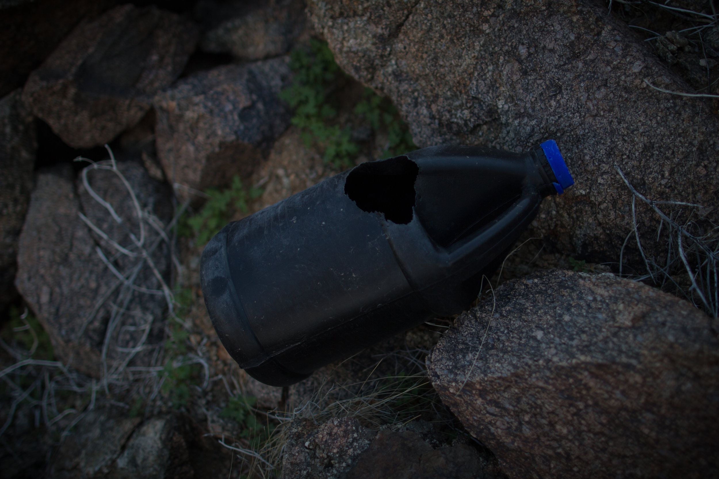 Despite designated wildernesses the deserts of Southern Arizona are filled with litter left behind by traffickers. They use black water bottles to be less visible at night. This one has been chewed through by a thirsty animal.