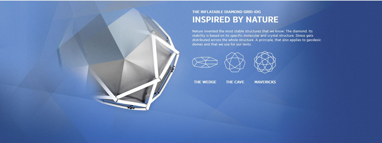 Nature invented the most stable structures that we know: The diamond. Its stability is based on its specific molecular and crystal structure. Stress gets distributed across the whole structure. A principle, that also applies to geodesic domes and that we use for our tents.
