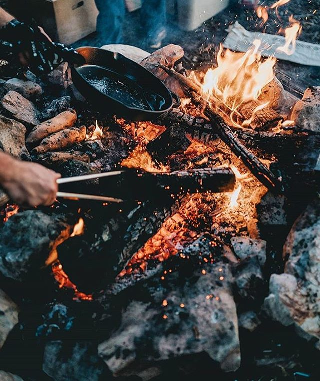 Cast iron skillet + open fire = good food.  Photo by @cole.mgkra #departedoutdoors