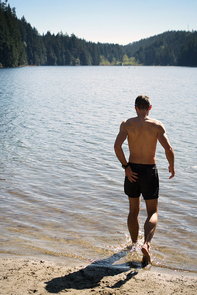 """The best way to recover quickly and to get rid of the """"ultra-smell"""" is to jump in the cold water of Sasamat Lake. Lot of people on the beach, none in the lake. The temperature might have had something to do with it."""