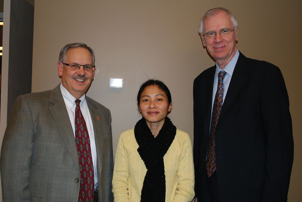 (From left to right) Bruce Ough, resident bishop of the Dakotas-Minnesota Area of the United Methodist Church; Sama Ao, current Project AgGrad student; Eric Forsber, chair of the Project AgGrad Committee.