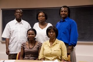 Standing: Kingsley Ayisi, Jenipher Bisikwa, and Toi Tsilo Seated: Cathrine Ziyomo, and Tsitsi Ndowora  Not pictured: Gbadebo Olaoye