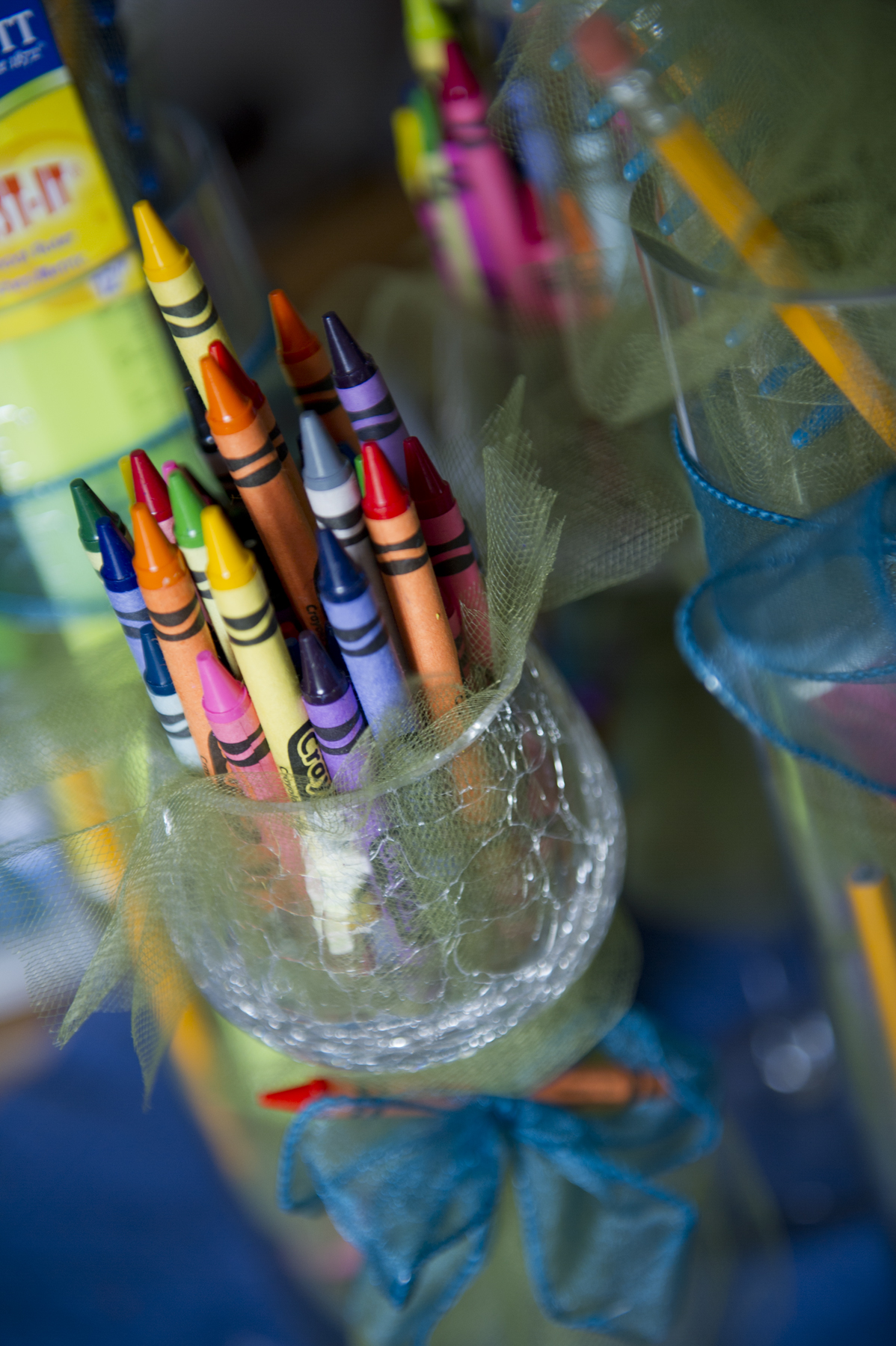 Mom being a school teacher crayons seemed the perfect centerpieces since they are wonderfully colorful