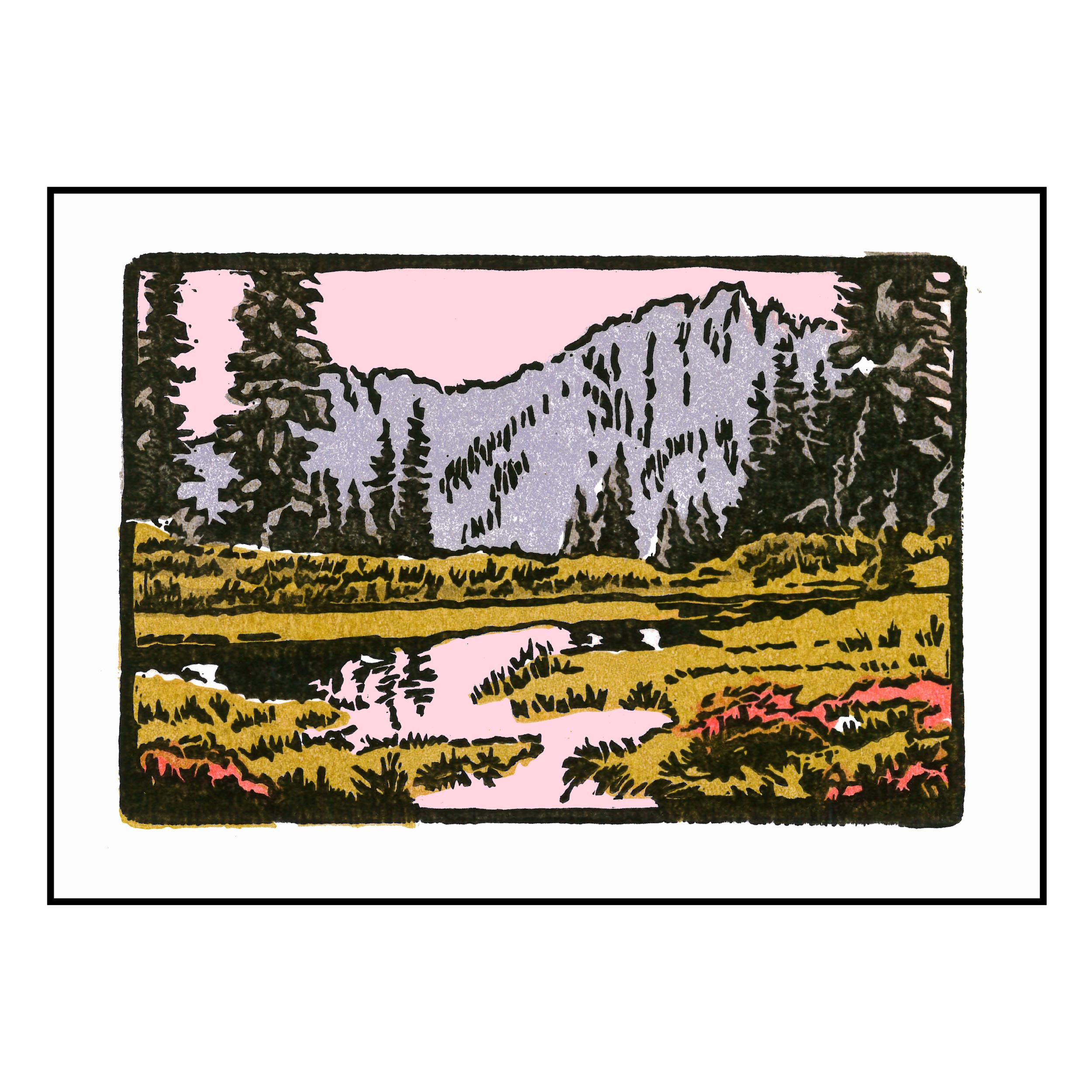 Three Trees (Winter); Hand-pulledRelief Print