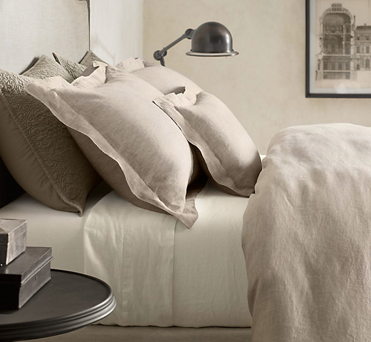 Restoration Hardware  STONEWASHED BELGIAN LINEN BEDDING COLLECTION in Dune