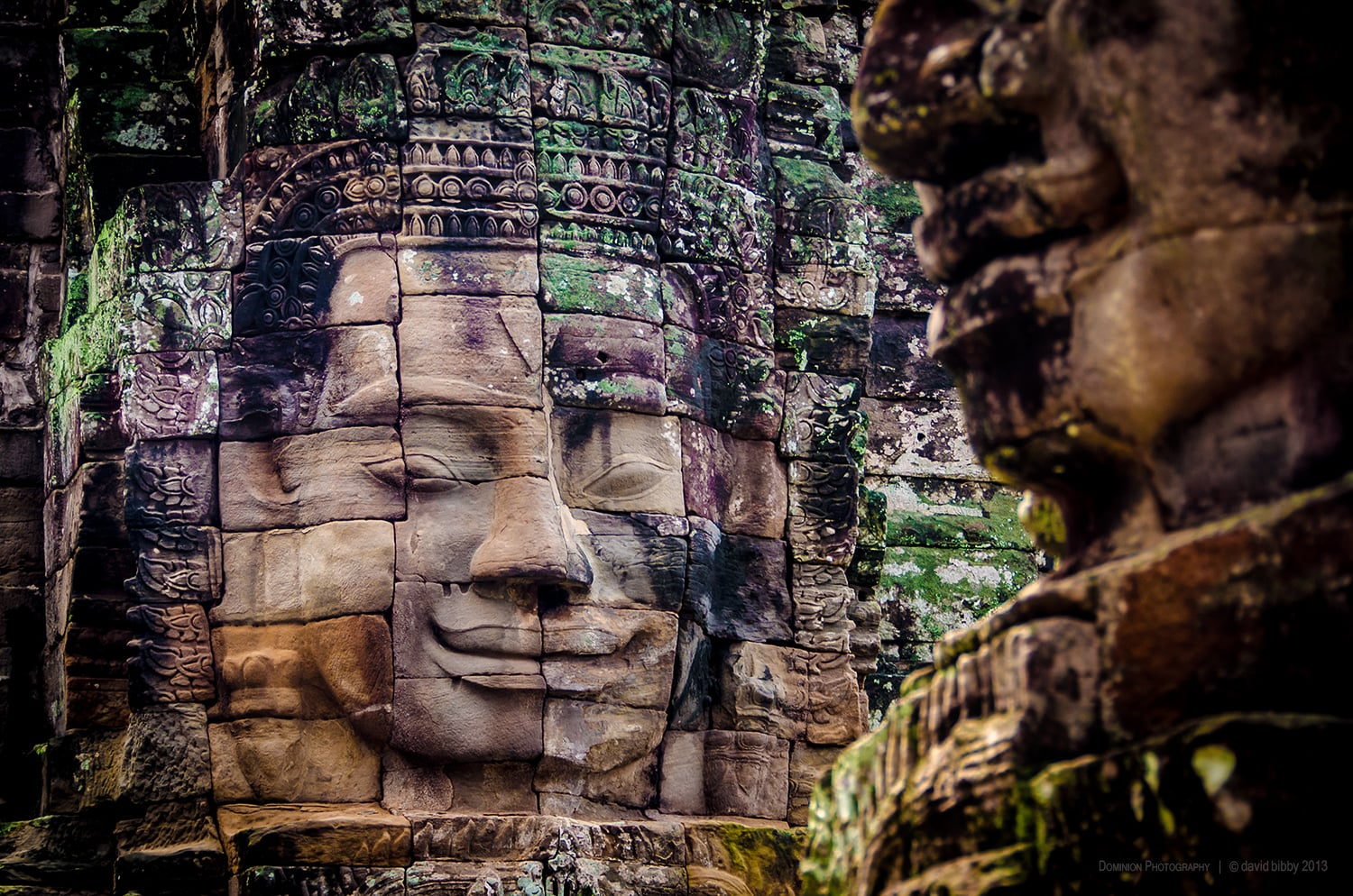 The Bayon  - 12th-13th century temple, Angkor Thom. The most striking aspect of the Bayon temple are the huge faces that adorn every side of the towers. Spectacular and awe inspiring. Angkor, Siem Reap Province, Cambodia.