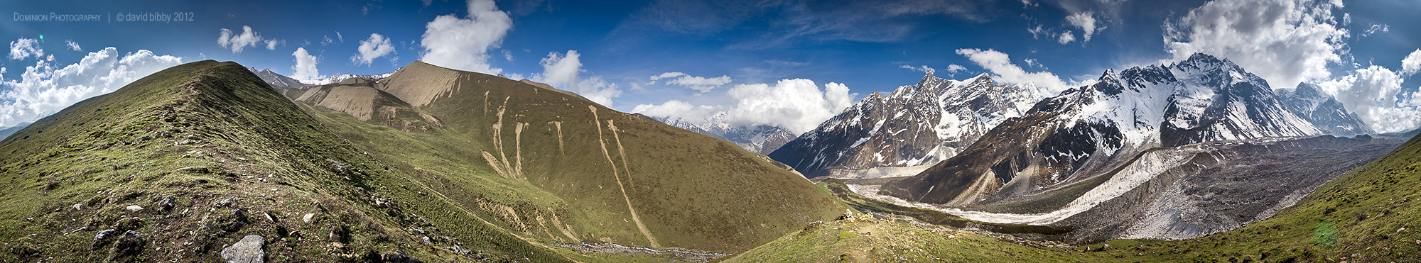 A 360 degree view below the Larkya La. Manaslu Conservation Area.