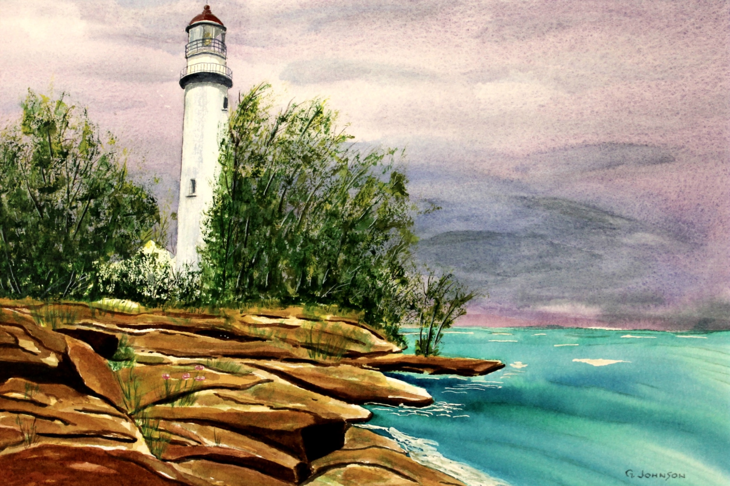 Lake Michigan Lighthouse. Image size 10 X 13. Framed out at 16 X 19. Cost framed is $500. Unframed cost is $450.