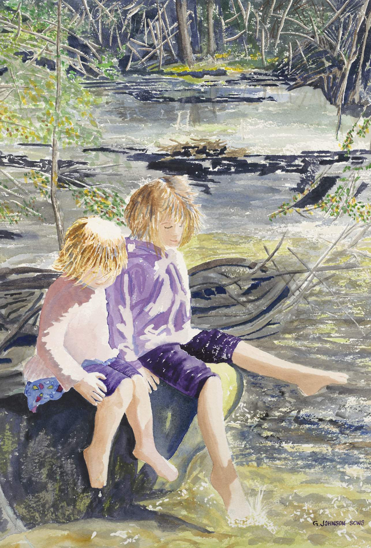 A day in the Park. Original Sold. Scene from Gulley Park, Fayetteville, AR. Reproductions available.