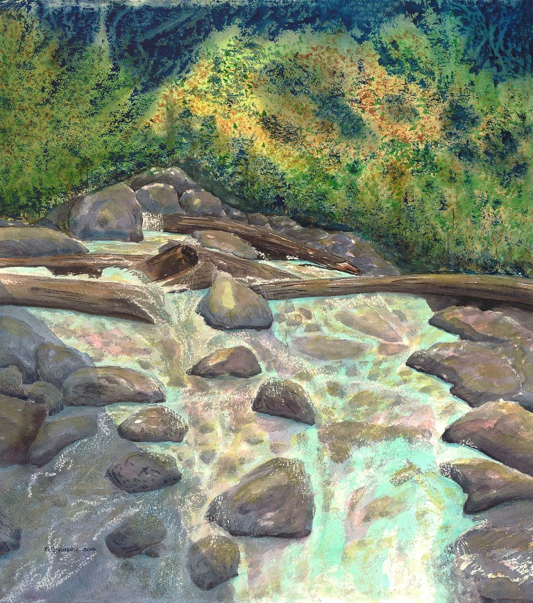 Shannon Creek, British Columbia. Watercolor. Original and reproductions available.