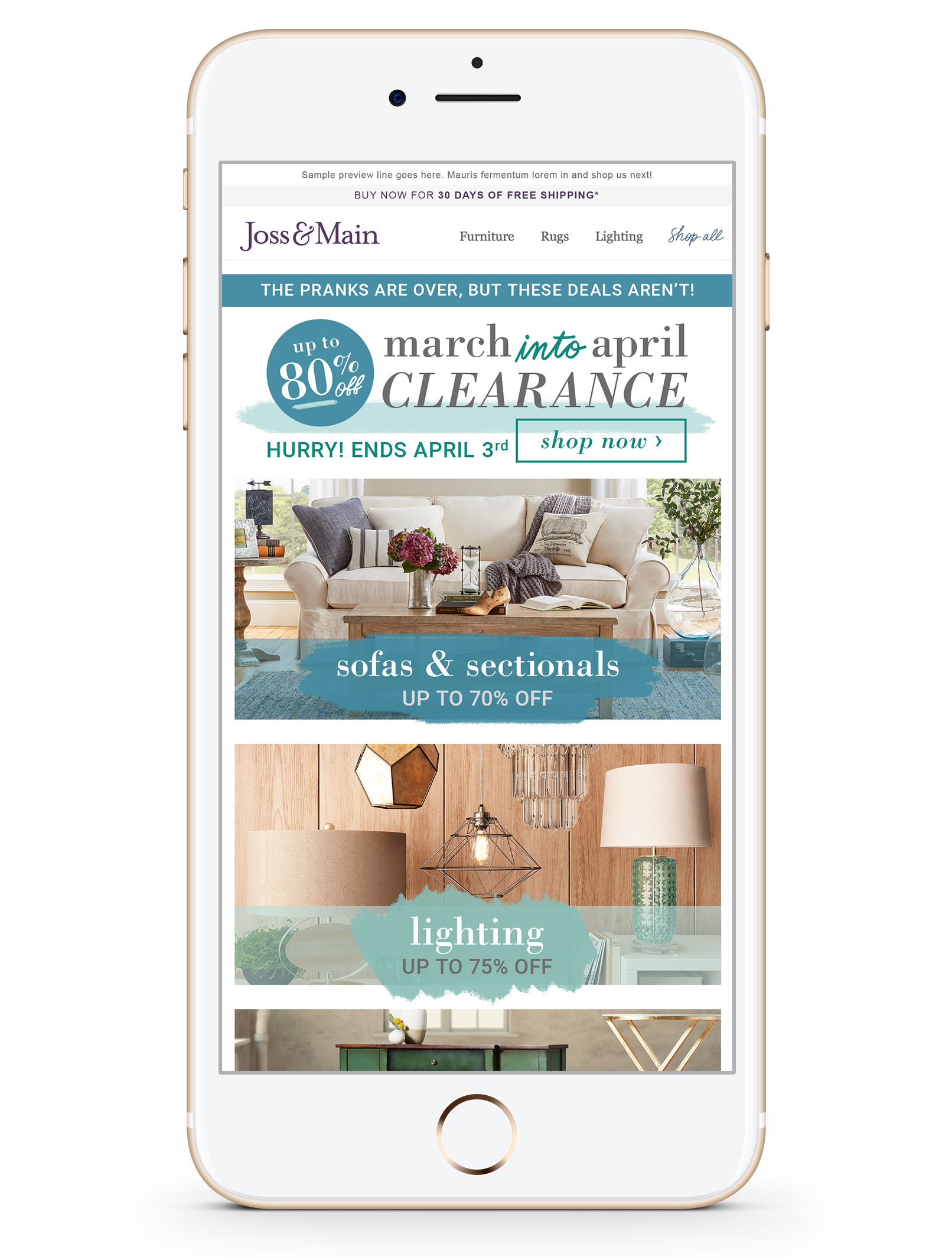 march into april clearance promo