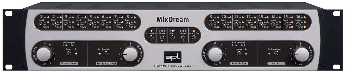 圖為 錄音工作室常見的analog summing box,16軌的SPL MixDream。