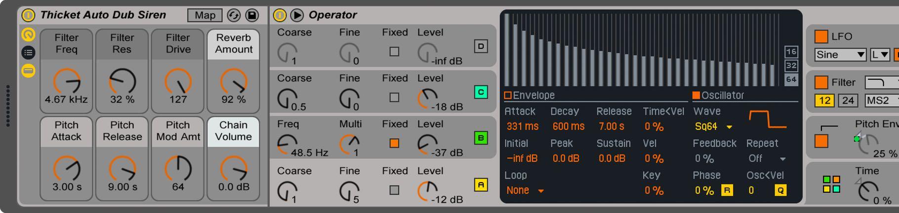 訂製旋鈕由樂器機櫃 Rack 來控制聲音變化