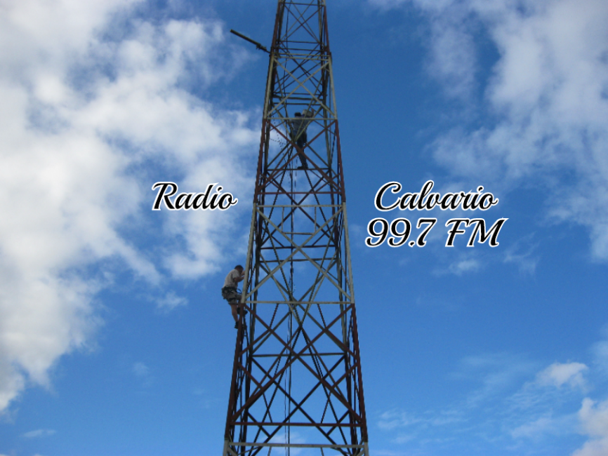 Working on the radio tower!