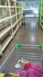 In Pali there are empty shelves and the meat section is closed...
