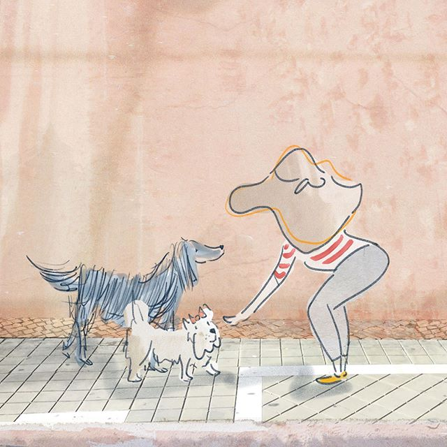 In Berlin, channeling Paris. Going a bit bonkers in the heat. Drawing dogs is my way of keeping sane.