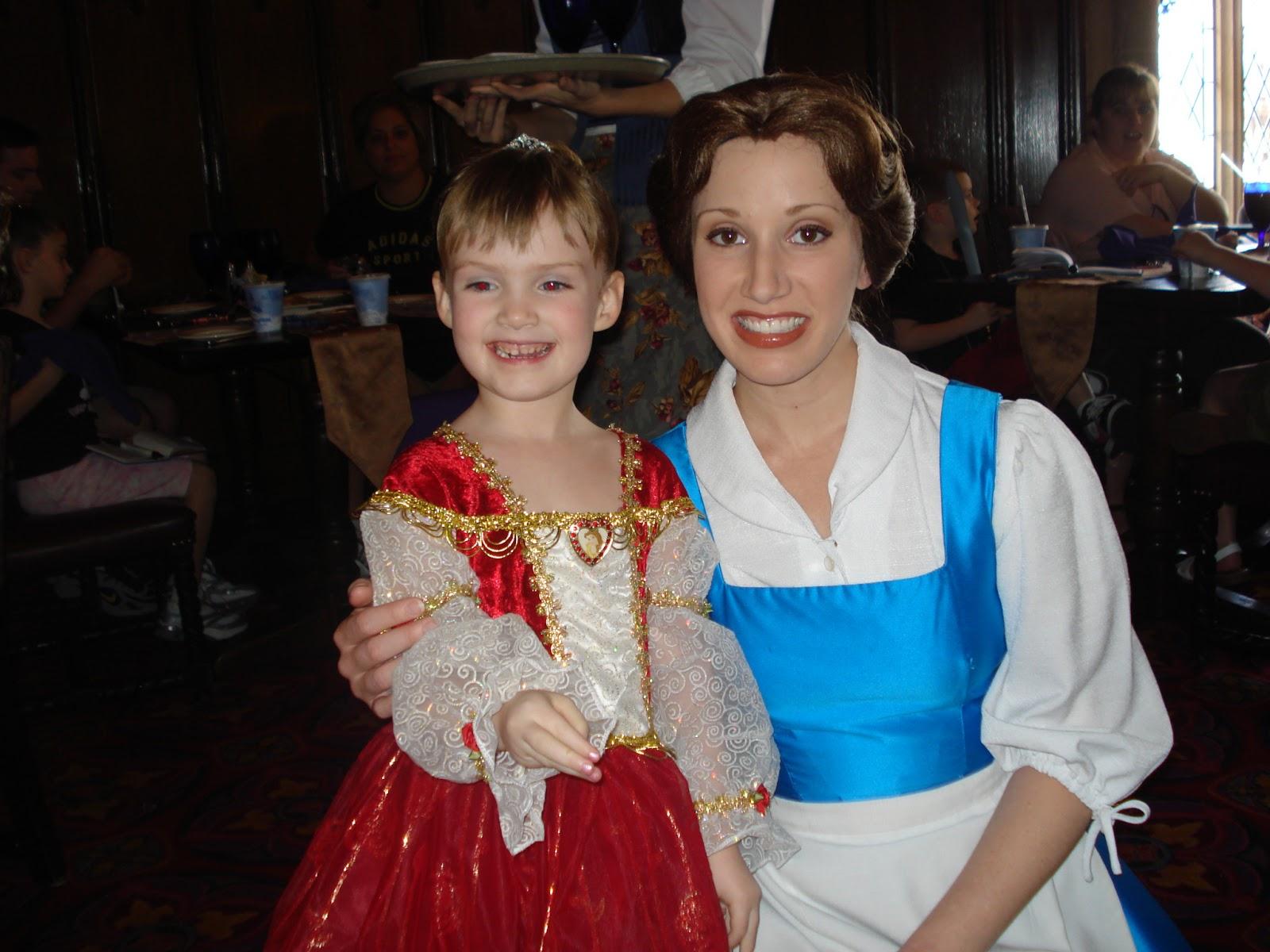 At Cinderella's Royal Table after the Bibbidi Bobbidi Boutique