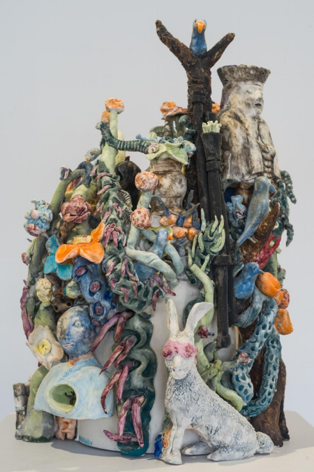 Figure 5.    Biosenario  (Kjersti Sletteland and Tone Boska), 'A Difficult Door to Open' [porcelain - 24cm x 22cm x 37cm] Photograph by Peter Haring.