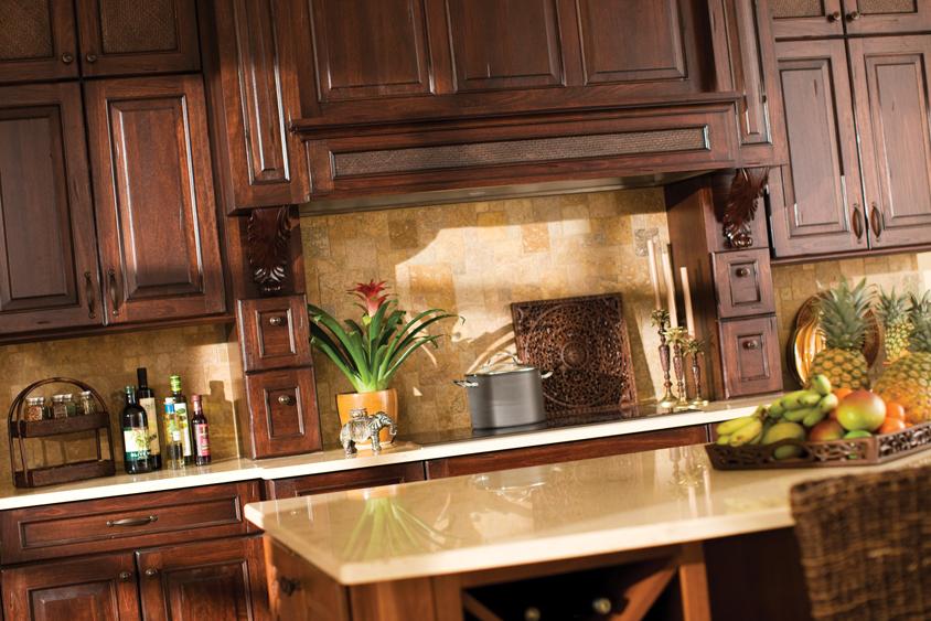 Dura Supreme  Designer Cabinetryshown with Montegodoor style Lyptus with Heavy Heirloom Cfinish.